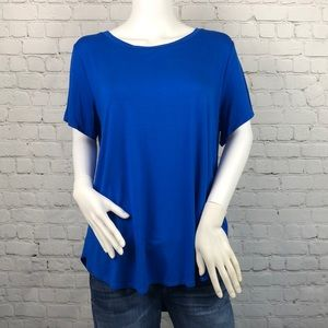 Alfani Blue Short Sleeve High Low Tee Size 1X